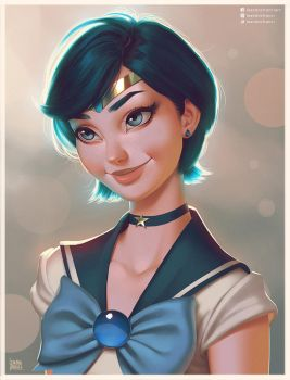 Sailor Mercury Portrait by lenadrofranci