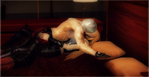 Kiss on the bed Dante x Trish by DanteDevilKnight