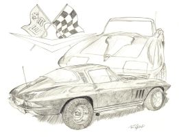 1965 Corvette -commission by DocRedfield