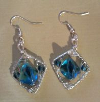 blue beads with silver wire earrings by syn-O-nyms