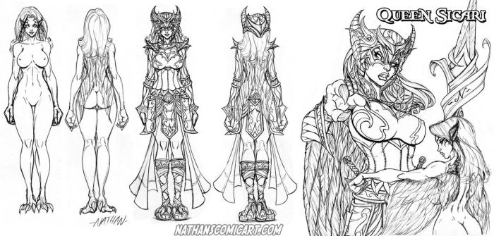 Knightingail Queen Sicari character sheet 0001 by nathanscomicart