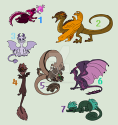 Cheap Dragon Adopts! *CLOSED* by SqueakyWolff