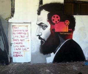 Stanley Kubrick - a tribute on the wall. by SKITSOFRENIS