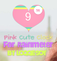 Pink Cute Clock for Rainmeter by Loqqesoy