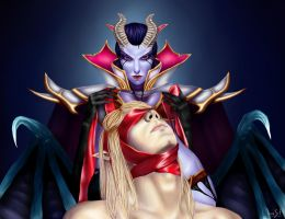 Queen of pain and Invoker by Artist-LaiNa