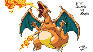 B-Day Charizard for Martin by blue-hugo