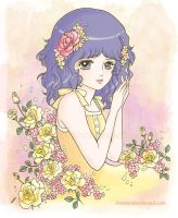 Wavy Haired Summer with Roses by yuzukko