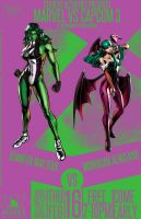 Marvel Vs Capcom 3 Poster She Hulk and Morrigan by Mathematic-Hack