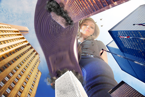 Giantess  Xenyia stomps on the City by dochamps