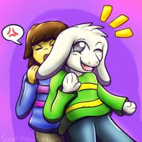 Frisk With Asriel by SecretMaskedBurger