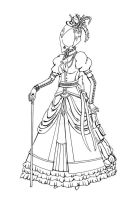 Victorian Dress Lineart by foreignmind