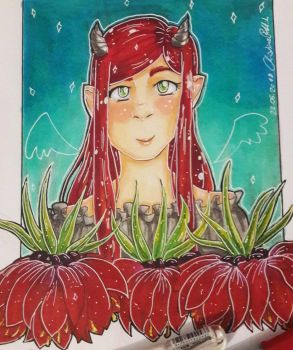 Idk? another ginger demon lady with flowers  by SafirasArt