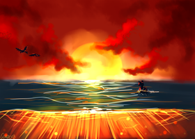 Sunset at the sea by CombotheBeehen