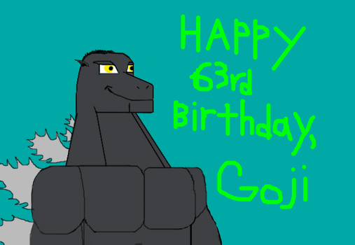 My birthday wishes to Godzilla (and even his son) by kahnac