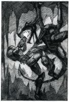 Samus VS Ridley Etching by Startaft33