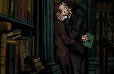 Kiss in the library by wandarer3