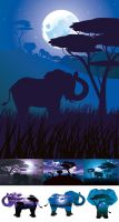 African Night with Elephant by AnnArtshock