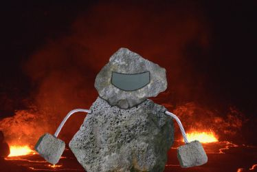 Pohaku Jaeger Guarding Kilauea Volcano in Hawaii by cartoonistforchrist