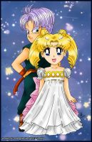 Chibi Trunks and Princess Serenity by amethyst-rose