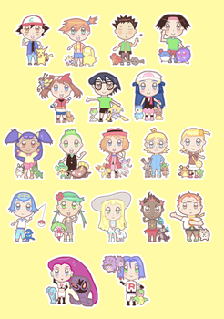 Chibi Pokemon anime stickers by milktinarts