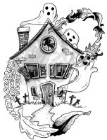 Inktober Day 7 - Haunted House by DragonPress