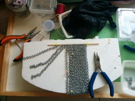 Miniature chainmail in progress by kayanah