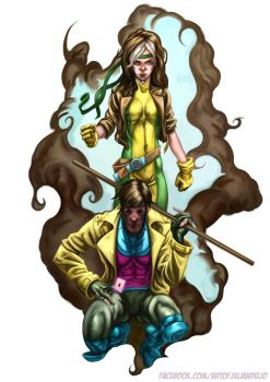 Gambit And Rogue Illustration by JulianDeLio