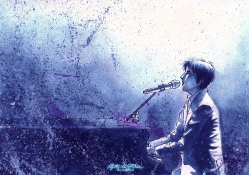 March Watercolor 11: The Pianist's Blues (DIMASH!) by SlytherclawPadawan