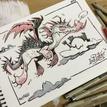 INKtober 2014 #6: Dragon by kshiraj