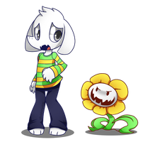 Undertale-Asriel  and Flowey by SilviShinyStar