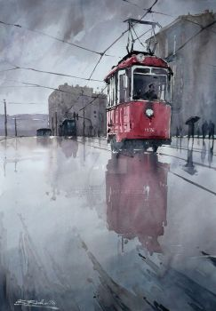 Red Tram by Kegriz