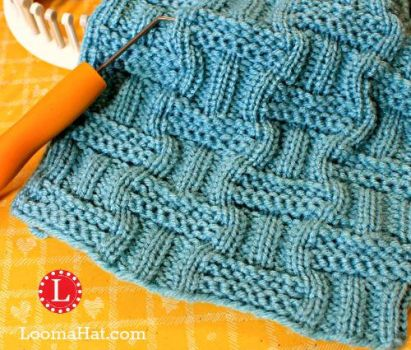 Loom Knit Double Basket Stitch by LoomaHat