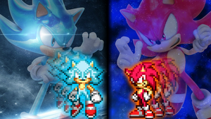 Super Sonic God and Super Sonic Blue Wallpaper. by DrizzlyScroll1996