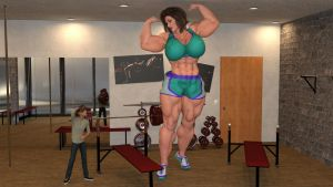 Mini Giantess Muscular Mom is now more stronger !! by Big-ELSA