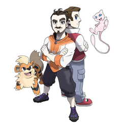 Commission - Pokemon Trainers + Growlithe and Mew by seto