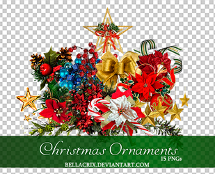 Christmas Ornaments PNGs by Bellacrix