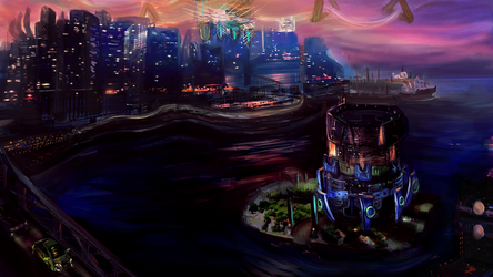Haven Harbour and City - matte painting by FlamesofFireLily