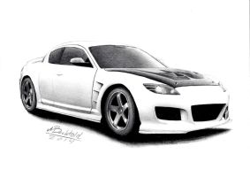 Mazda RX 8 JDM Tuned Tuning Realistic Car Drawing by MaxBechtold