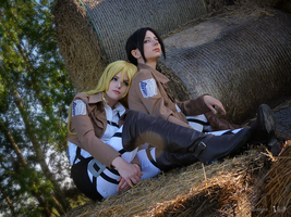 Ymir and Christa by Vivid-Cosplay