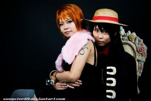 OP: Nami and Luffy by songster69