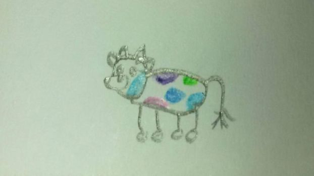 Smol rainbow cow by PuffytonDoesArt