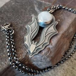 Sterling silver Bat and the Moon necklace by Astukee