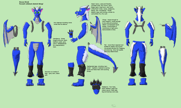 Doran fursuit refsheet by Doran-Eirok