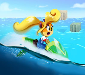 coco bandicoot on jet skii by pink-ninja