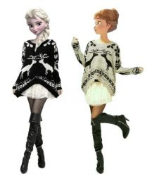 Modern Disney - Elsa and Anna Sweaters by drpepperswife