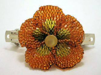 Orange Flower Hairclip by pinkythepink