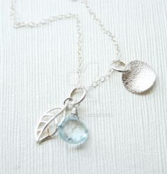 Little Topaz and Leaf Necklace by OhKuol