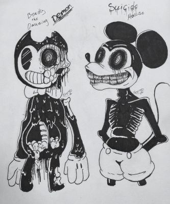 Bendy and suicide mouse by AlienLynx