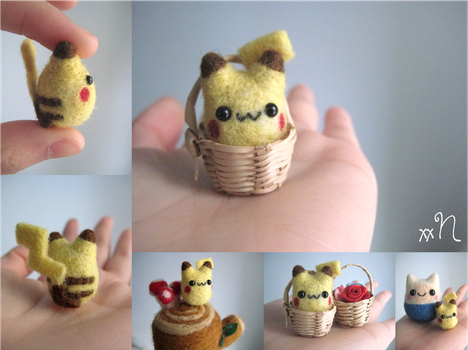 Miniature Felted Pikachu by xxNostalgic