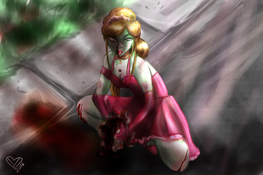 Zombie princess commission color version by Ynnep